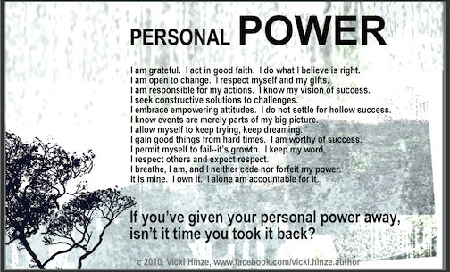 Vicki Hinze, Personal Power Card