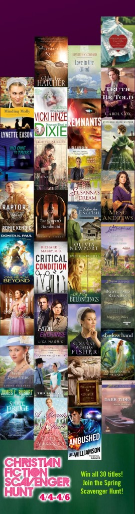2014 Spring Christian Fiction Scavenger Hunt, vicki hinze, robin lee hatcher, lisa bergren, kathi macias, elizabeth goddard, james l rubart, carol cox,