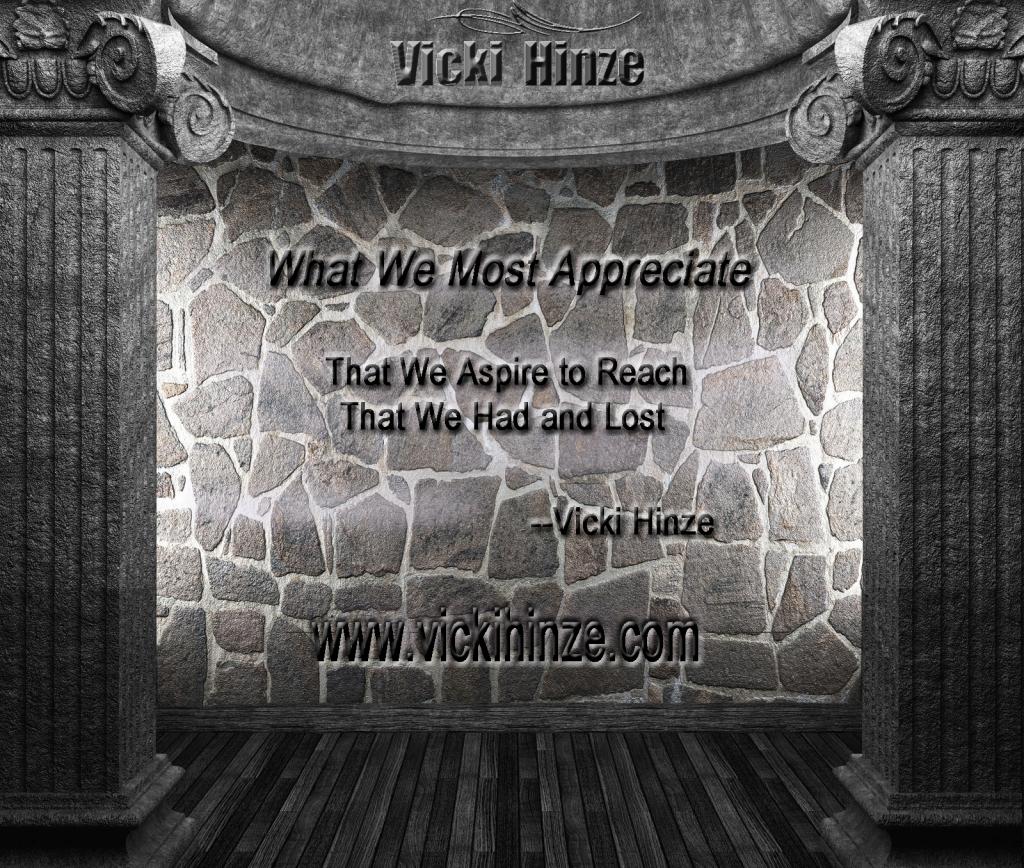 Appreciation, Vicki Hinze, Thinking Aloud