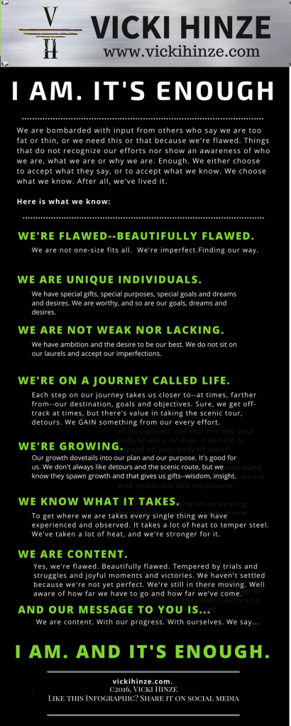 I AM. IT'S ENOUGH., VICKI HNIZE, INFOGRAPHIC BY VICKI HINZE, CONTENTMENT