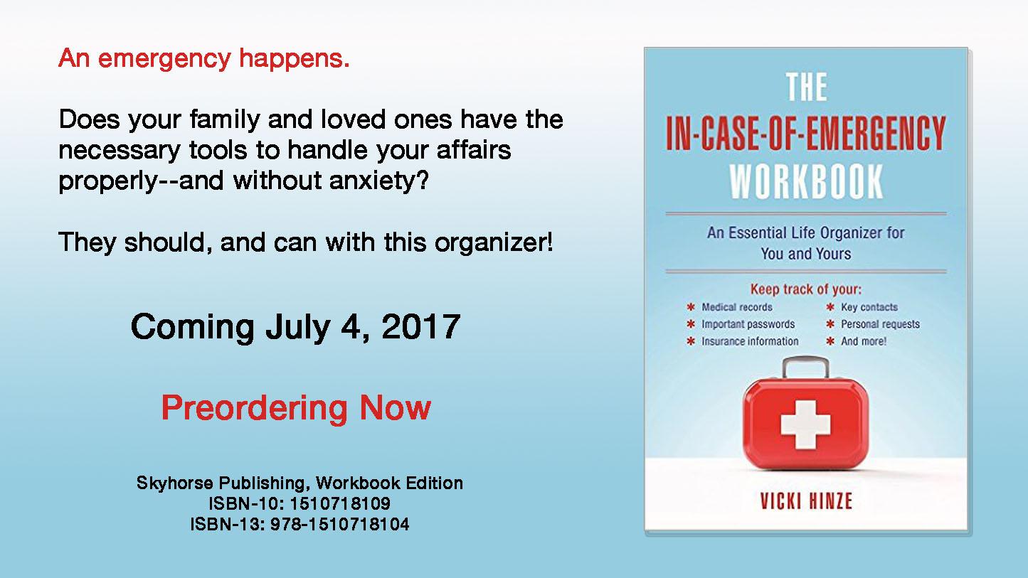 In Case of Emergency, Vicki Hinze, workbook, organizer, Skyhorse Publishing